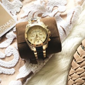 Michael Kors Blair Gold Tortoise Chronograph Watch